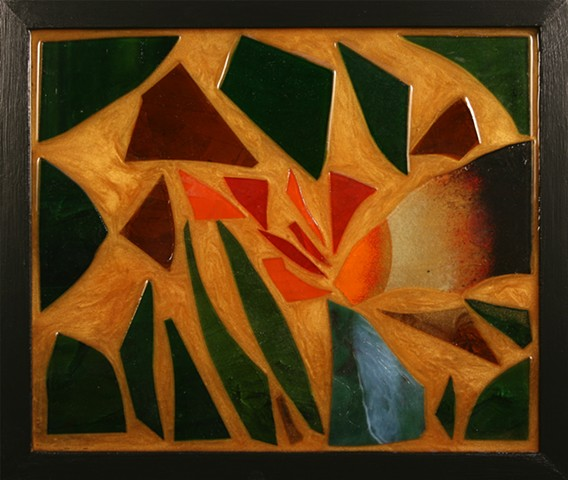 Epoxy resin mosaic with stained and enameled glass.
