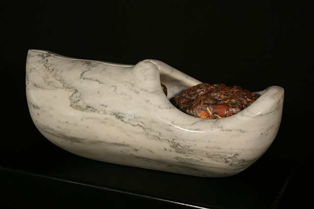 Stone Sculpture, Marble Sculpture, Seed Pod with Seed in Marble.