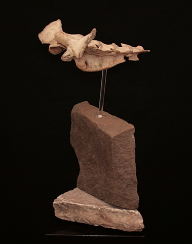 "This is a modern contemporary mixed media sculpture of my interpretation of a wingsuit base jumper just ""clearing the ridge"" on his descent back to terra firma  by Denis A. Yanashot"