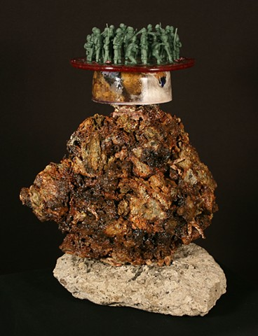 Mixed Media, Denis A. Yanashot, Anthracite, Sculpture, Crystals, Burnt Culm Clumps, art from coal, war, war horror, friendly fire