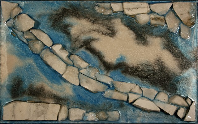 Medium: Mixed Media Relief (birch plywood, marble, adhesive, epoxy resin, mica powders, acrylic paint) Abstraction of the ice forms and water of a winter stream.