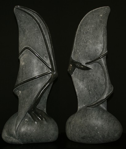 sculpture of a bat wing done in Champlain Black Marble