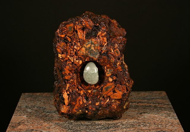 First piece in mixed media Geode Series utilizing burnt anthracite culm ash and green steatite.