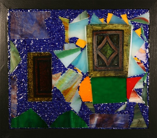 hanging mixed media mosaic, Mixed Media Mosaic (wood, acrylic paint, antique stained glass, stained glass, glass frit, epoxy resin) Denis A. Yanashot Sculptor, Scranton, PA, member ISC,