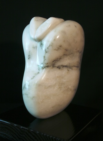 This is a modern contemporary stone sculpture of a Fava Bean by Denis A. Yanashot