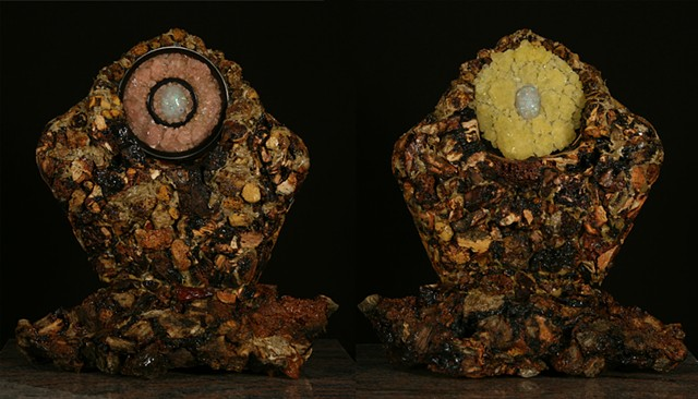 Mixed Media, Denis A. Yanashot, Anthracite, Sculpture, Crystals, Opals, Burnt Culm Clumps, art from coal,