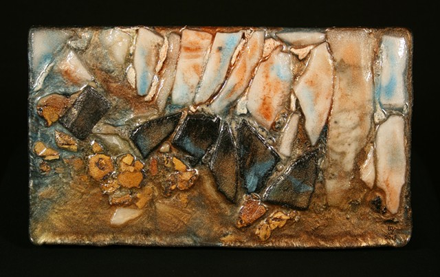This is a mixed media wall hanging relief consisting of plywood, marble, anthracite burnt culm, adhesives, mica powder and epoxy resin.