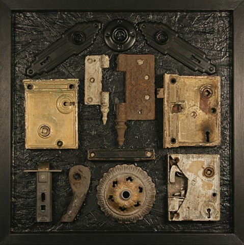 Dark Home is a hanging wall relief composed of wood, antique objects, construction adhesive and acrylic paint.