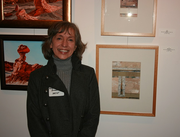Mary Grace Yanashot with her collages.