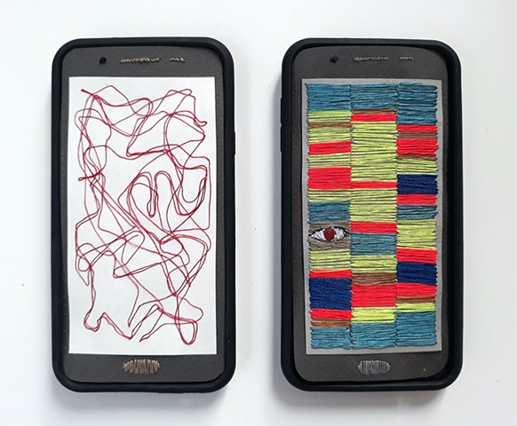 """Paranoid"" Embroideries / 2 Tracking Apps Smart phone"