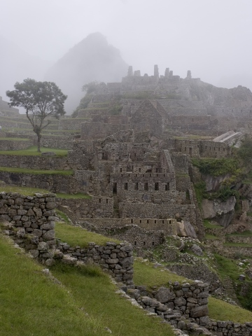 Morning fog at Machu Picchu