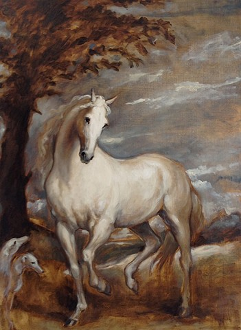 Mary Bridgman Painting/Oil on Canvas Studio# 11   White Horse