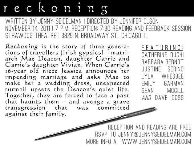 """Reckoning"" postcard back."