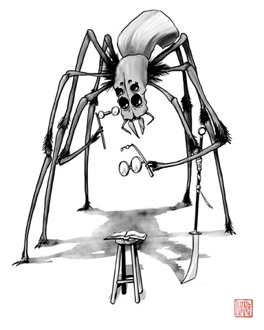 Giant spider holding multi-framed glasses with a polearm for a leg
