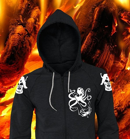 Spider vs. Octopus - placed artwork on hoodie