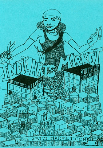 """Indie Arts Market"" poster and flyer"
