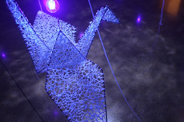 Origami Cranes in Blue