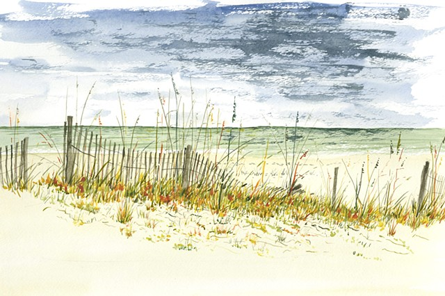 St. George Island dune and fence painting