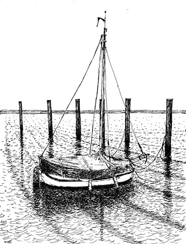 Ink drawing of a sailboat in Hamburg, Germany