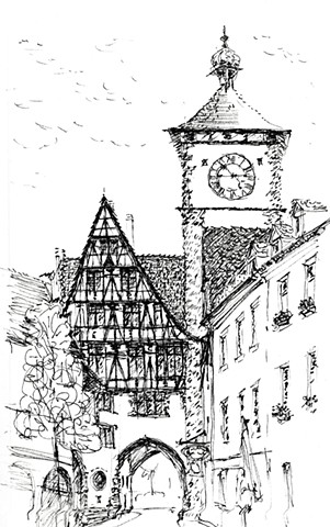 Pen and ink drawing of street in Freiberg Germany