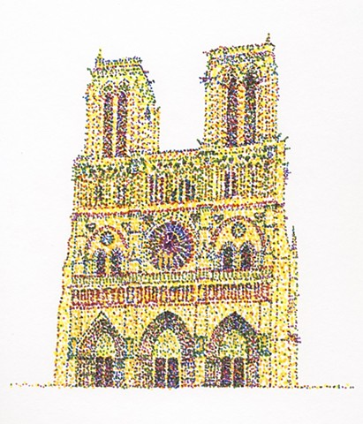 Notre Dame in yellow