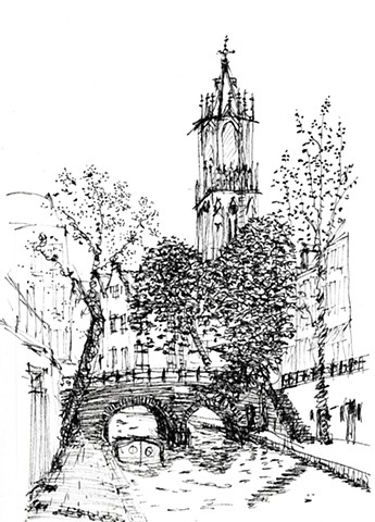 Pen and ink drawing of Dom Tower and canal in Utrecht, Netherlands