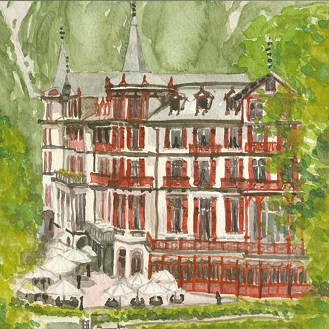 Geissbach Hotel watercolor