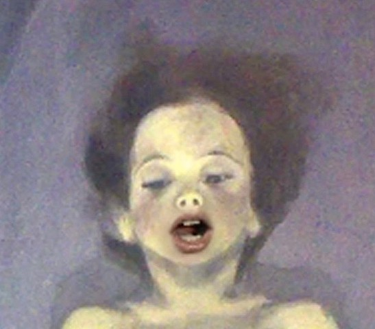 Petit Morte. A child appears to be laying motionless in a coffin. Infused with light he/she takes a first breath and proceeds to sing Pie Jesu in the bath, before recounting the story of the Twelve Apostles.