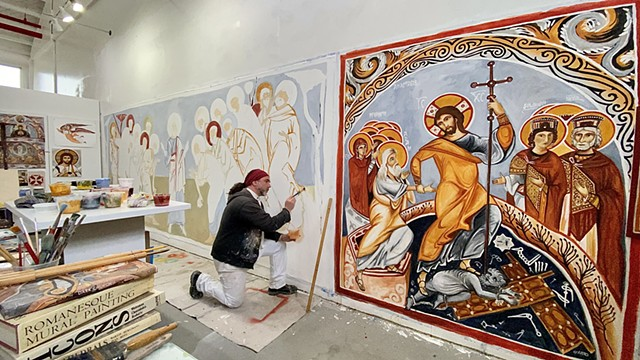 working on the murals for Our Lady of Fatima Russian Byzantine Catholic Church