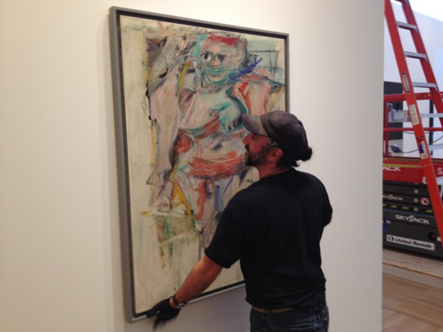 Installing over one hundred important 20th century American Artworks at Stanford University, (above: installing a painting by famed Abstract Expressionist Willem DeKooning) Lead Installer, Stanford University Anderson Collection of American Art