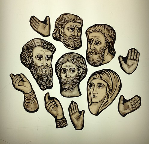 heads of pilgrims -glass painting