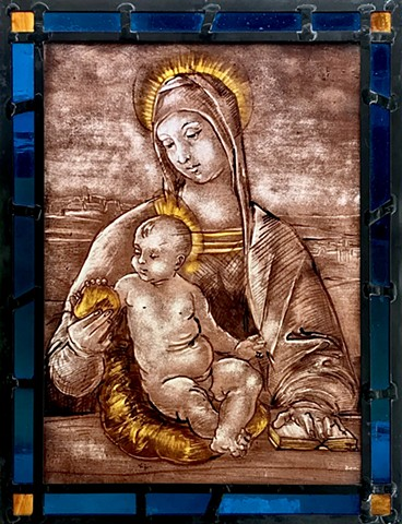 Madonna and Christ, Glass painting (after a drawing by Renaissance artist Rafael)