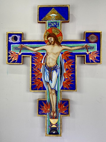 Painted Crucifix for private prayer shrine