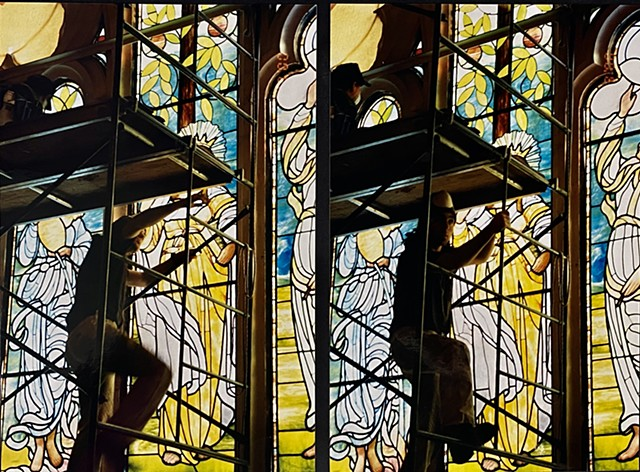 Restoring sacred stained glass by Otto Heineke in Boston Massachusetts, w/ Serpentino Studios