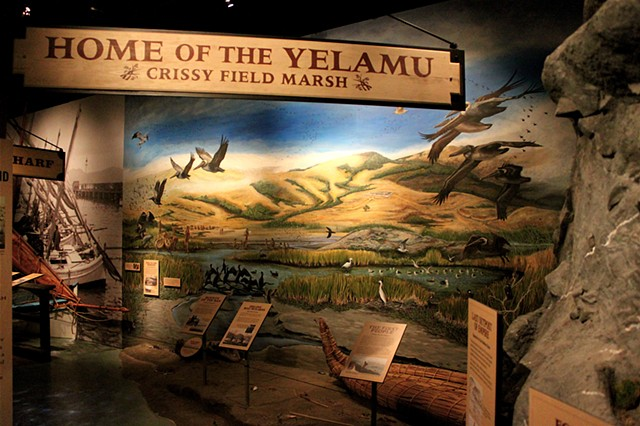 'The Presidio 1790: Home of the Yelamu' designed & hand-painted mural for National Park Service, San Francisco Maritime National Historic Park,  Visitor Center II, San Francisco CA
