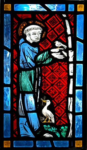 Saint Francis (glass panel in Medieval style)