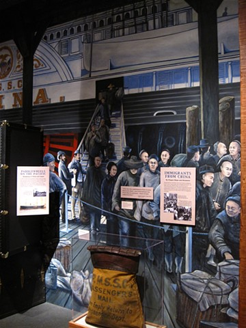 completed exhibit  'The Arrival of Chinese Immigrants into San Francisco,1890) for National Park Service, San Francisco Maritime National Historic Park,  Visitor Center II, San Francisco CA
