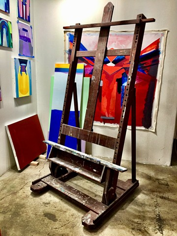 'Old Charlie', my easel I built when i had a job in a woodshop when I first moved to San Francisco and had no money. I still use it!