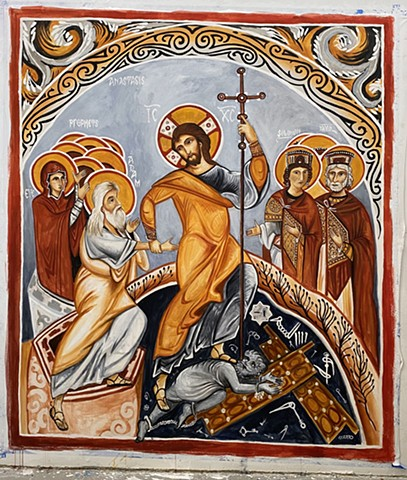 The Anastasis (recreation of 12th c. Cappadocian Fresco)