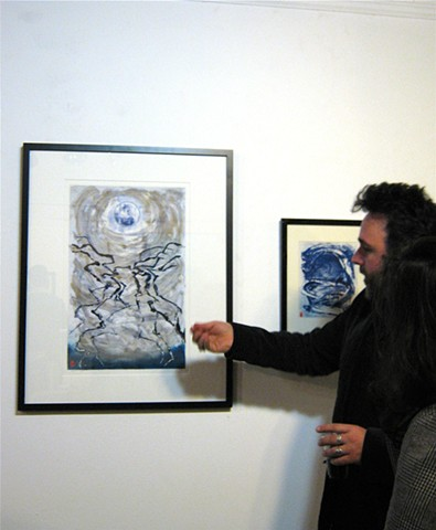 speaking with an art admirer,  LIVE Arts Gallery SF