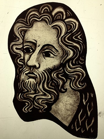 Head of an Apostle (Gothic style) - glass painting