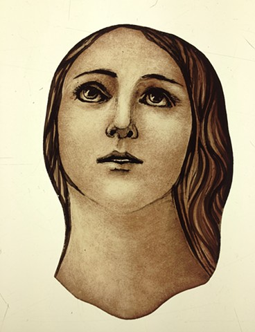 Face of Blessed Mother- glass painting