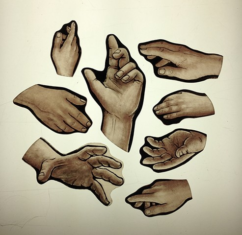 hands (Classical style) - glass painting