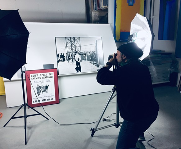 photo documentation of exhibit panels for 'Una Storia Segreta', (the Secret History) about the interning of thousands of Italian-Americans in the US during WWII. for the Italian-American Society of America-Western Chapter