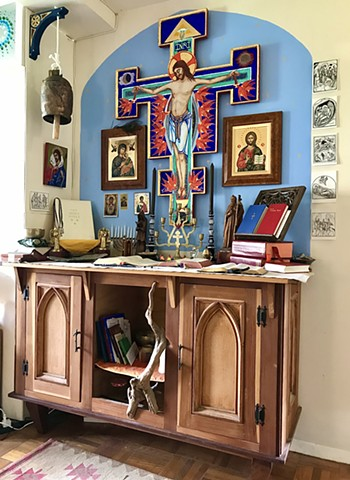 Painted Crucifix for private prayer shrine (In situ)