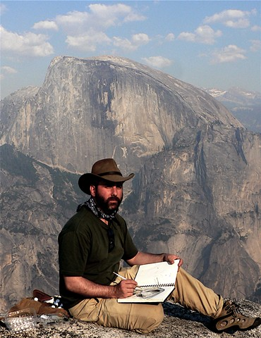watercolor painting on top of North Dome, Yosemite National Park, CA