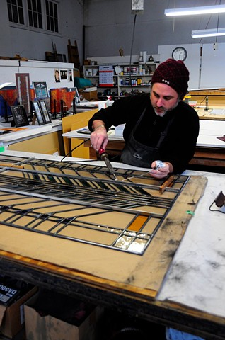 Construction of a custom leaded glass work for Arthur Stern Studios