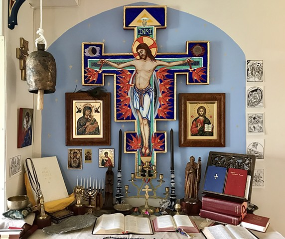Painted Crucifix for private prayer shrine ( in situ)