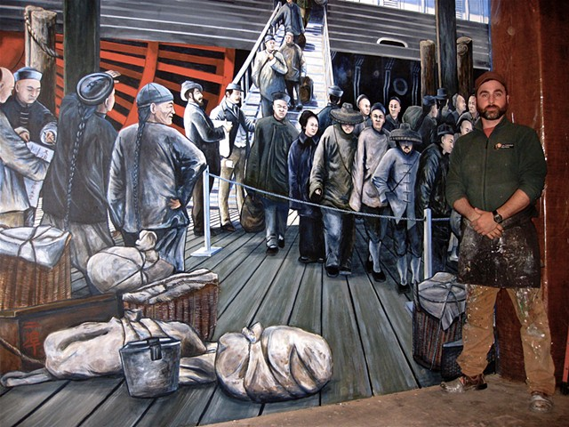 "painting ""The Arrival of the Chinese Into San Francisco in 1890' history mural for the National Park Service, SF Maritime National Park"