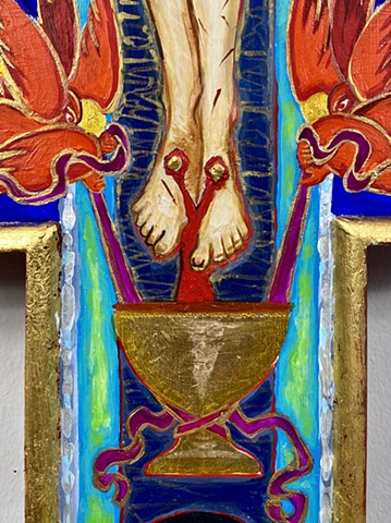 Painted Crucifix for private prayer shrine (Detail)
